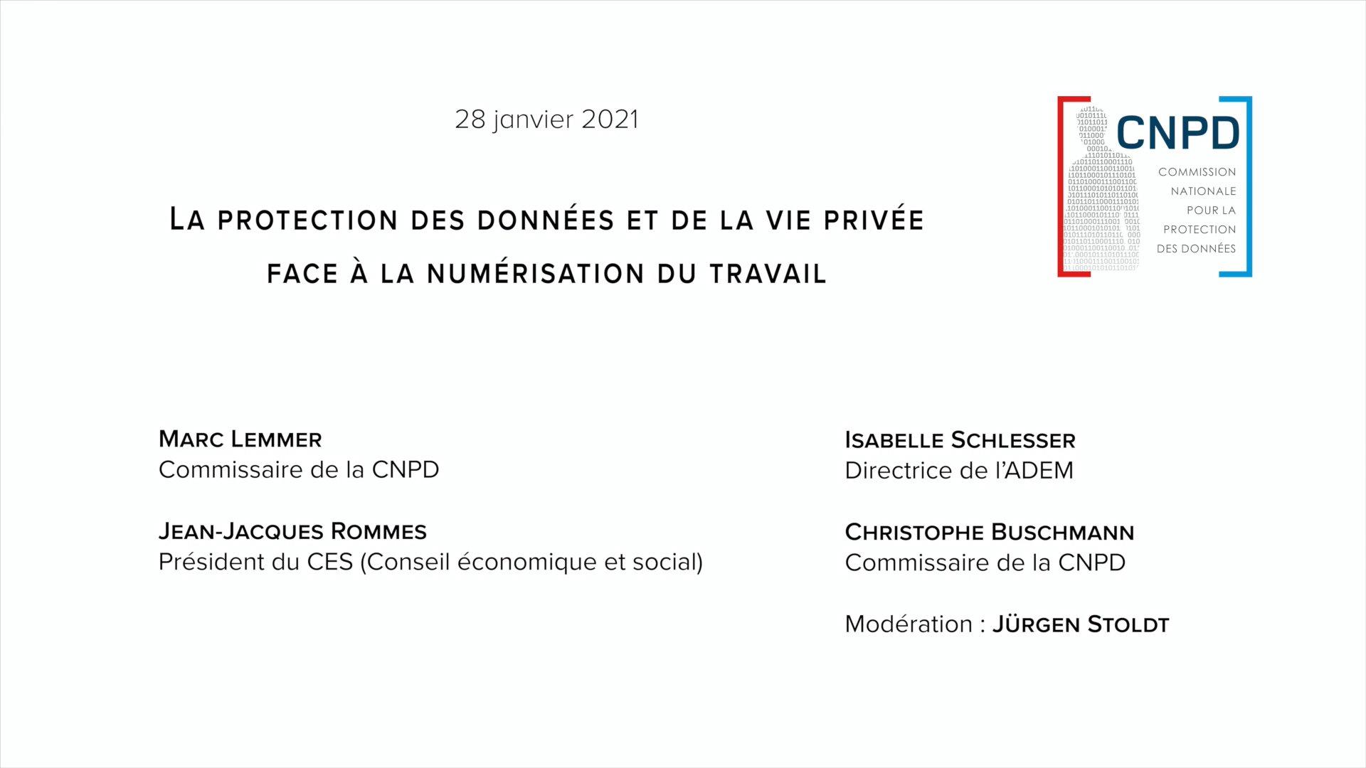 Conférence: Protection des données et de la vie privée face à la numérisation du travail
