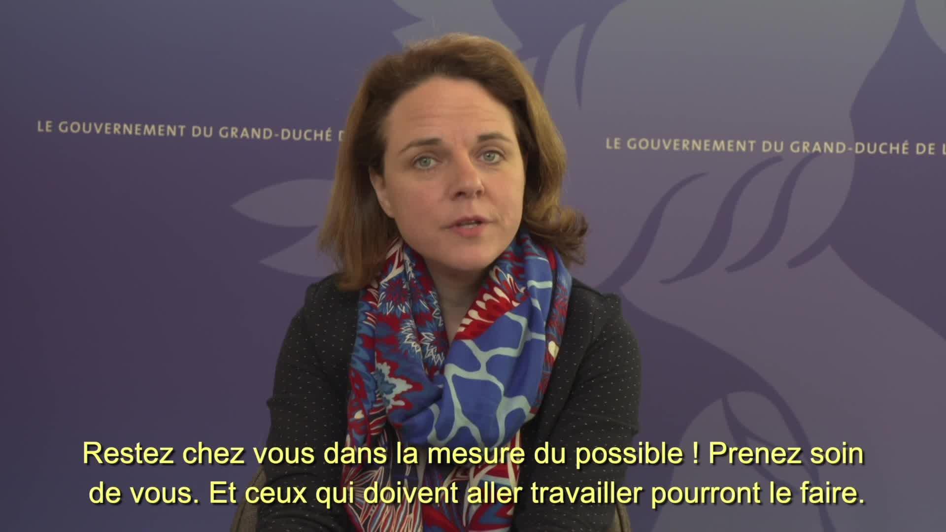 Covid19 - La ministre de la Famille et de l'Intégration, Corinne Cahen, informe